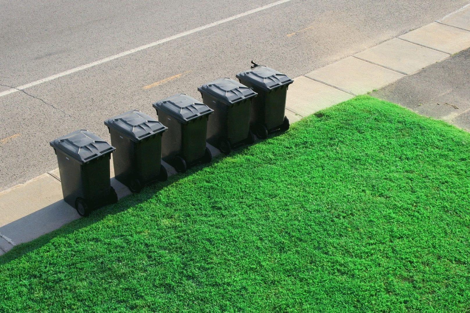 Bacs d'ordures ménagères placés en bordure de rue